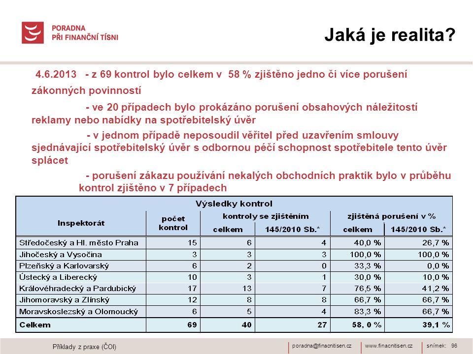 www.finacnitisen.czporadna@finacnitisen.cz Jaká je realita? snímek: 96 4.6.2013 - z 69 kontrol bylo celkem v 58 % zjištěno jedno či více porušení záko