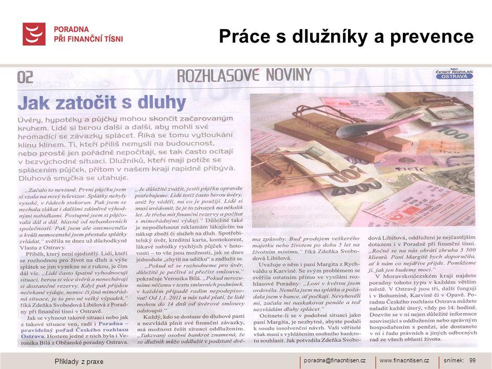 www.finacnitisen.czporadna@finacnitisen.cz Práce s dlužníky a prevence snímek: 99 Příklady z praxe