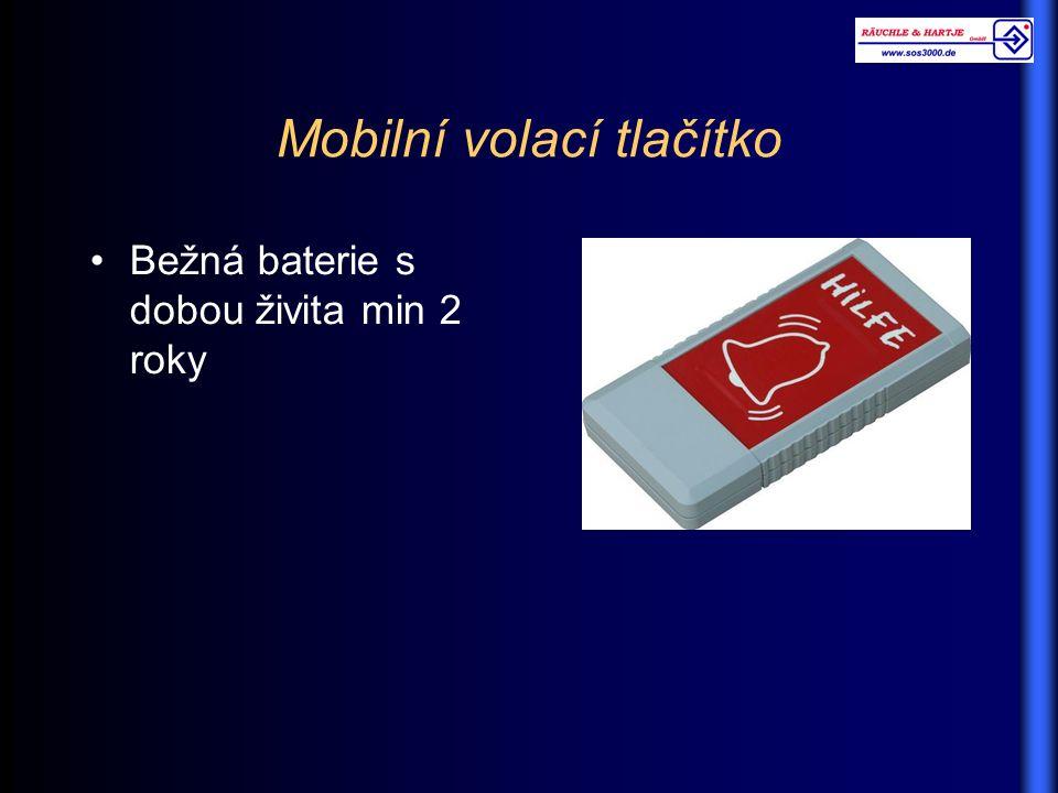 Mobilní volací tlačítko Bežná baterie s dobou živita min 2 roky
