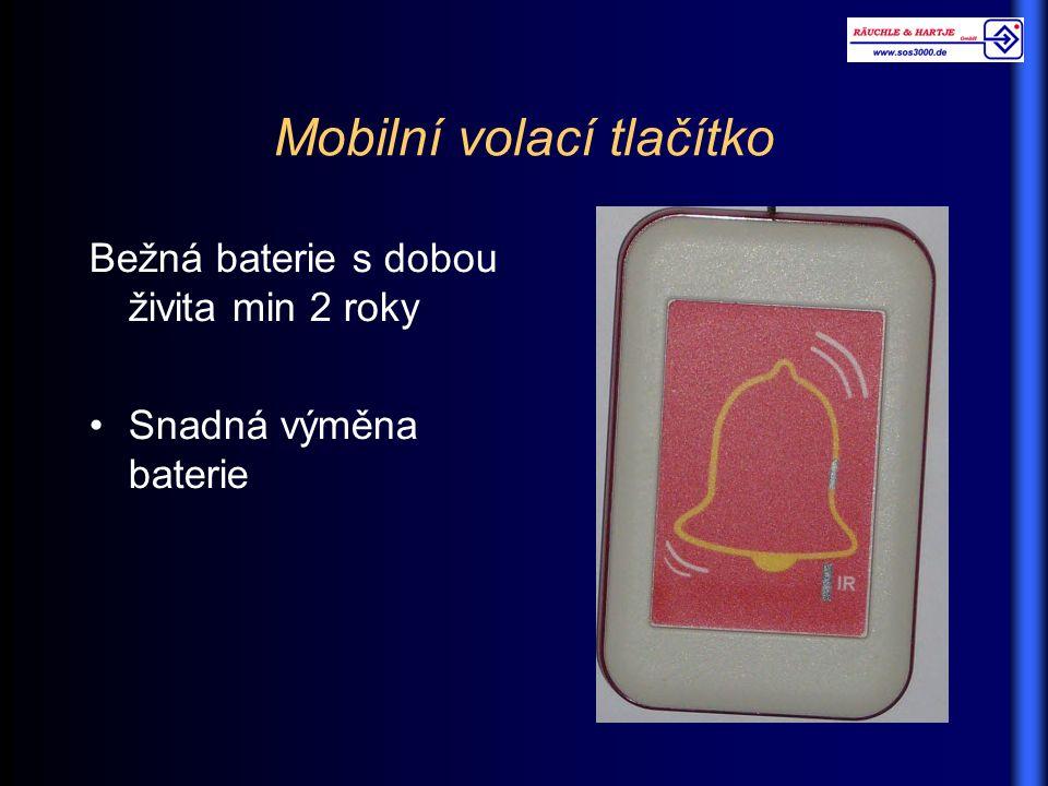 Mobilní volací tlačítko Bežná baterie s dobou živita min 2 roky Snadná výměna baterie