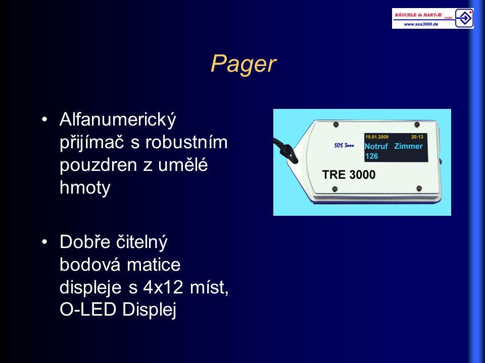 Pager Alfanumerický přijímač s robustním pouzdren z umělé hmoty Dobře čitelný bodová matice displeje s 4x12 míst, O-LED Displej