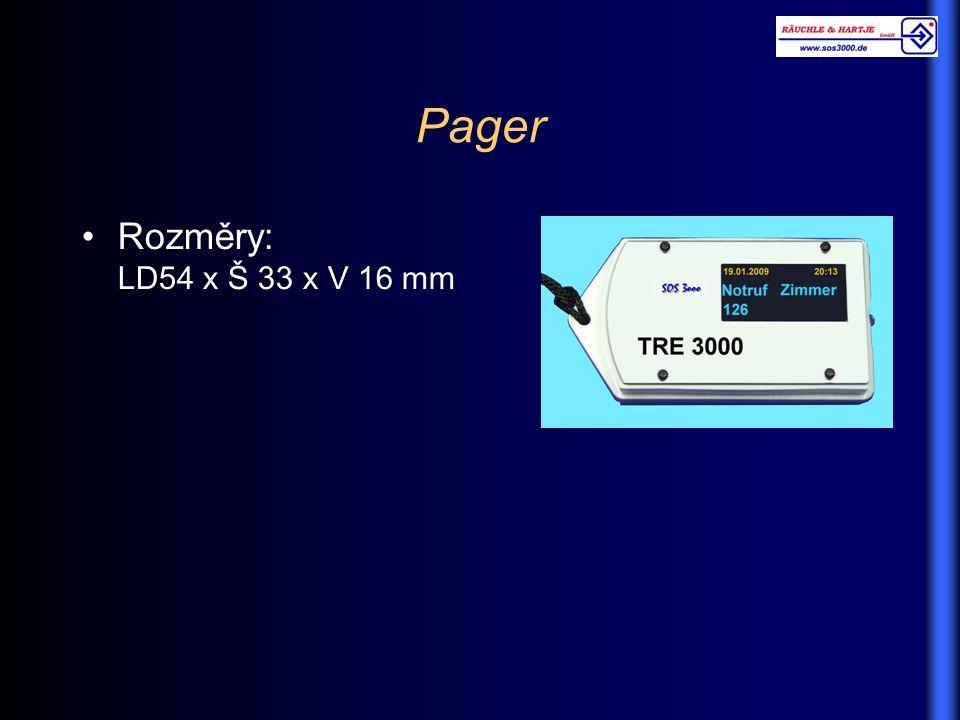 Pager Rozměry: LD54 x Š 33 x V 16 mm