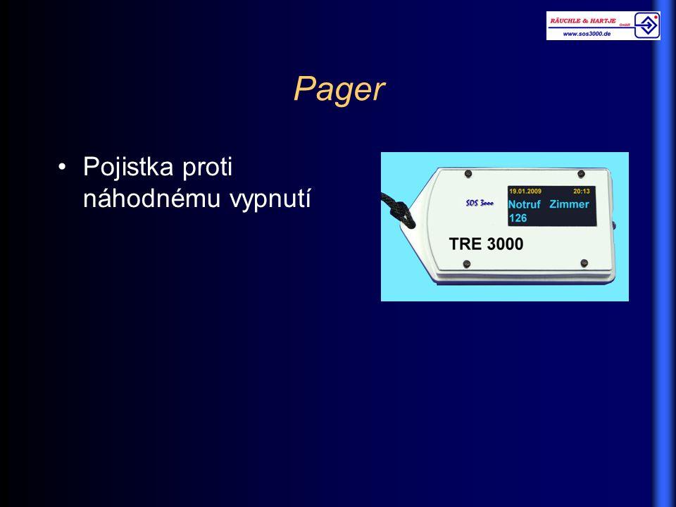 Pager Pojistka proti náhodnému vypnutí