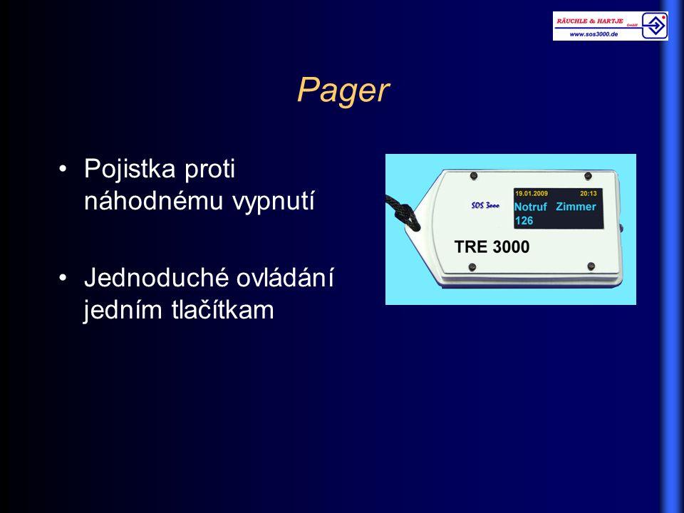 Pager Pojistka proti náhodnému vypnutí Jednoduché ovládání jedním tlačítkam