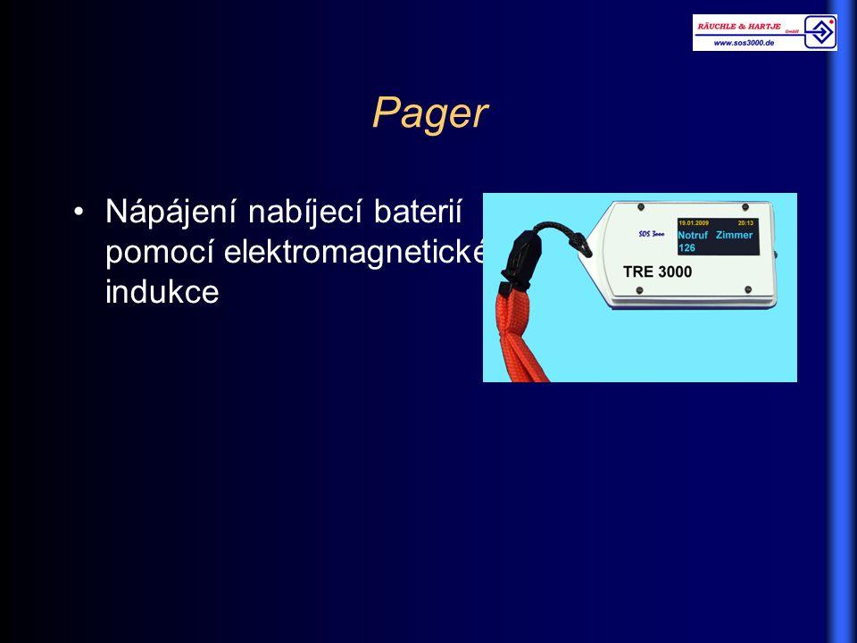 Pager Nápájení nabíjecí baterií pomocí elektromagnetické indukce