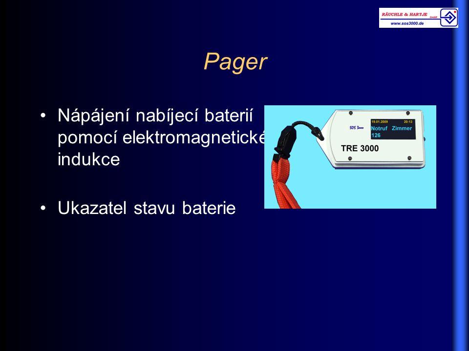 Pager Nápájení nabíjecí baterií pomocí elektromagnetické indukce Ukazatel stavu baterie
