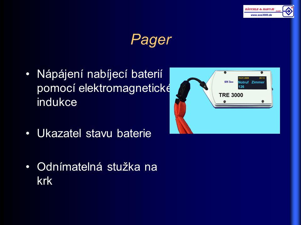 Pager Nápájení nabíjecí baterií pomocí elektromagnetické indukce Ukazatel stavu baterie Odnímatelná stužka na krk