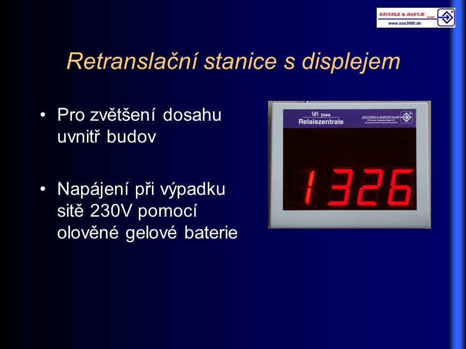 Retranslační stanice s displejem Pro zvětšení dosahu uvnitř budov Napájení při výpadku sitě 230V pomocí olověné gelové baterie