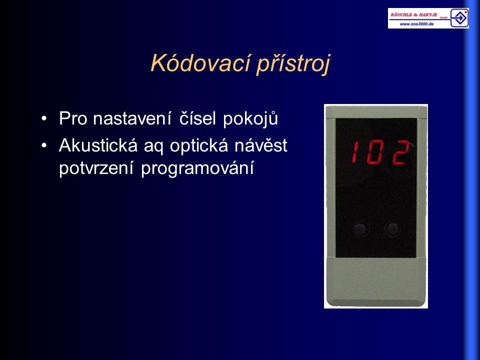 Kódovací přístroj Pro nastavení čísel pokojů Akustická aq optická návěst potvrzení programování