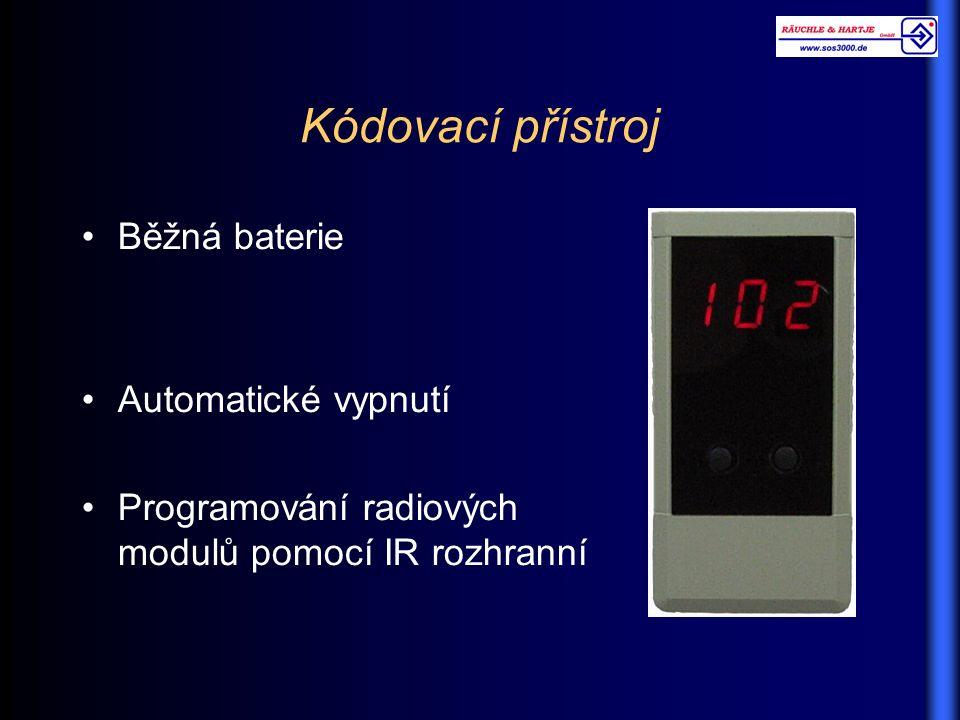 Kódovací přístroj Běžná baterie Automatické vypnutí Programování radiových modulů pomocí IR rozhranní