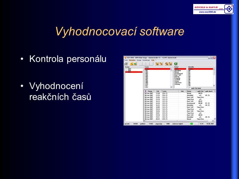 Vyhodnocovací software Kontrola personálu Vyhodnocení reakčních časů