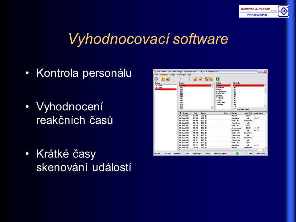 Vyhodnocovací software Kontrola personálu Vyhodnocení reakčních časů Krátké časy skenování událostí