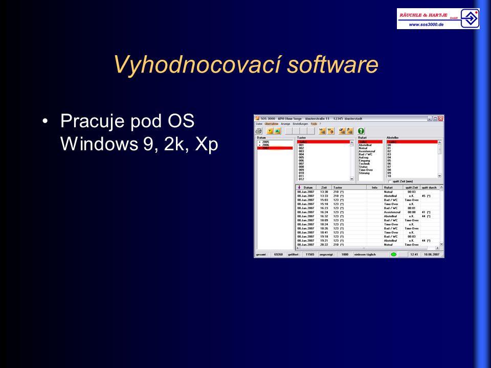 Vyhodnocovací software Pracuje pod OS Windows 9, 2k, Xp