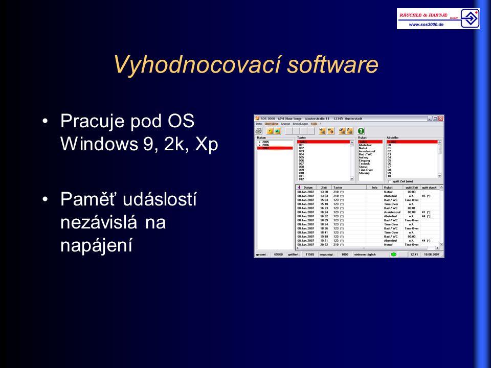 Vyhodnocovací software Pracuje pod OS Windows 9, 2k, Xp Paměť udáslostí nezávislá na napájení