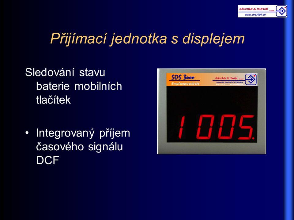 Přijímací jednotka s displejem Sledování stavu baterie mobilních tlačítek Integrovaný příjem časového signálu DCF