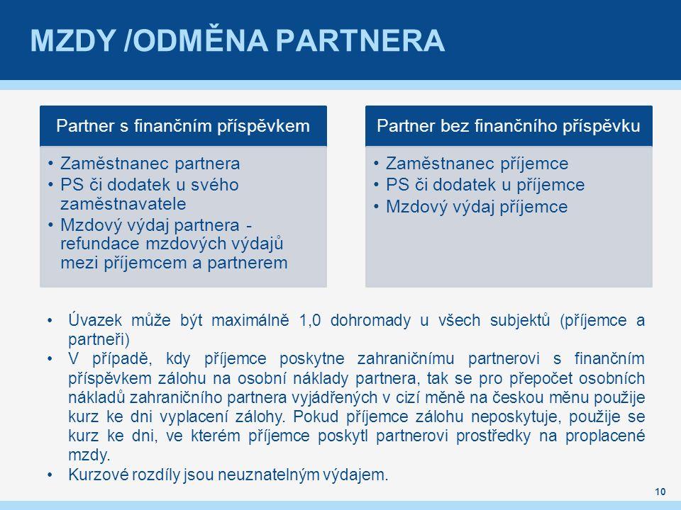 MZDY /ODMĚNA PARTNERA 10 Partner s finančním příspěvkem Zaměstnanec partnera PS či dodatek u svého zaměstnavatele Mzdový výdaj partnera - refundace mzdových výdajů mezi příjemcem a partnerem Partner bez finančního příspěvku Zaměstnanec příjemce PS či dodatek u příjemce Mzdový výdaj příjemce Úvazek může být maximálně 1,0 dohromady u všech subjektů (příjemce a partneři) V případě, kdy příjemce poskytne zahraničnímu partnerovi s finančním příspěvkem zálohu na osobní náklady partnera, tak se pro přepočet osobních nákladů zahraničního partnera vyjádřených v cizí měně na českou měnu použije kurz ke dni vyplacení zálohy.