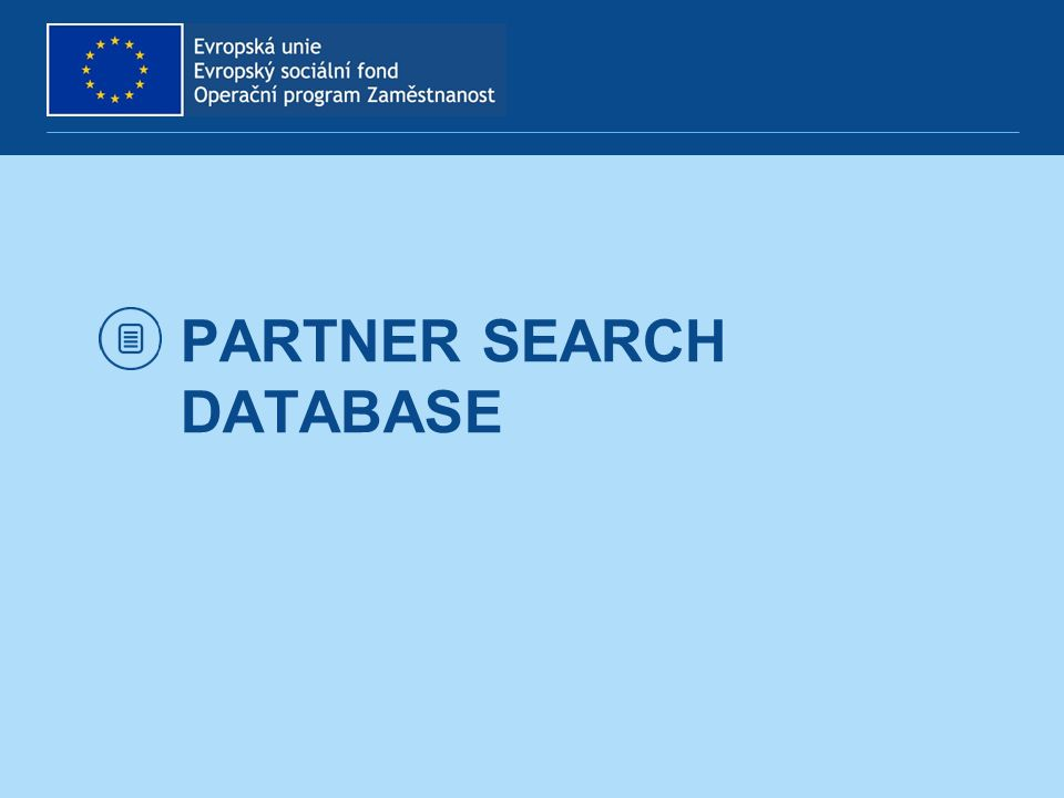 PARTNER SEARCH DATABASE