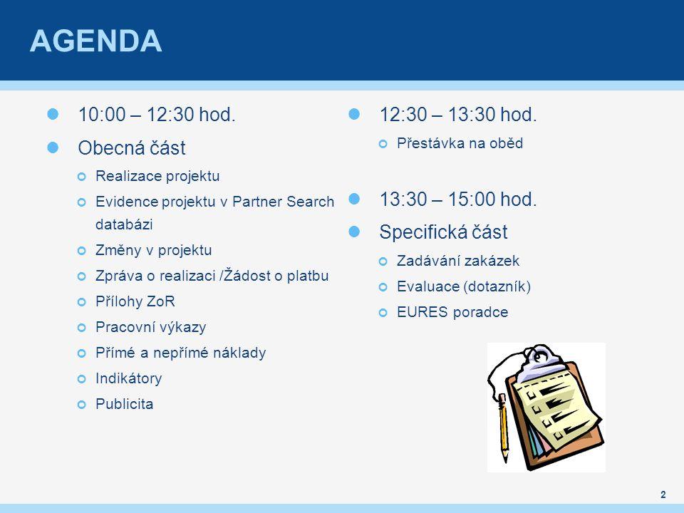 AGENDA 10:00 – 12:30 hod.