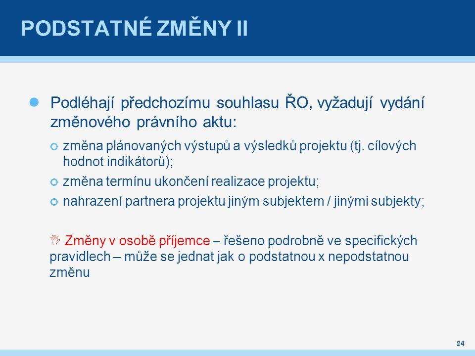 PODSTATNÉ ZMĚNY II Podléhají předchozímu souhlasu ŘO, vyžadují vydání změnového právního aktu: změna plánovaných výstupů a výsledků projektu (tj.