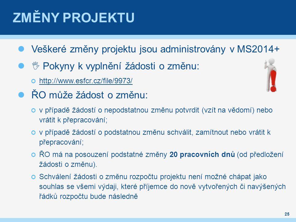 ZMĚNY PROJEKTU Veškeré změny projektu jsou administrovány v MS2014+  Pokyny k vyplnění žádosti o změnu: http://www.esfcr.cz/file/9973/ ŘO může žádost o změnu: v případě žádostí o nepodstatnou změnu potvrdit (vzít na vědomí) nebo vrátit k přepracování; v případě žádostí o podstatnou změnu schválit, zamítnout nebo vrátit k přepracování; ŘO má na posouzení podstatné změny 20 pracovních dnů (od předložení žádosti o změnu).