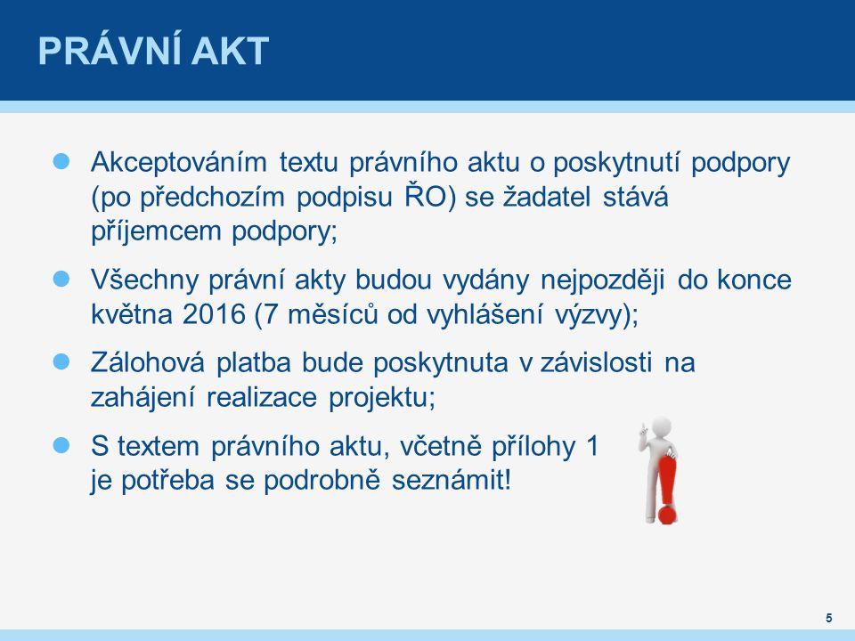 PRÁVNÍ AKT Akceptováním textu právního aktu o poskytnutí podpory (po předchozím podpisu ŘO) se žadatel stává příjemcem podpory; Všechny právní akty budou vydány nejpozději do konce května 2016 (7 měsíců od vyhlášení výzvy); Zálohová platba bude poskytnuta v závislosti na zahájení realizace projektu; S textem právního aktu, včetně přílohy 1 je potřeba se podrobně seznámit.