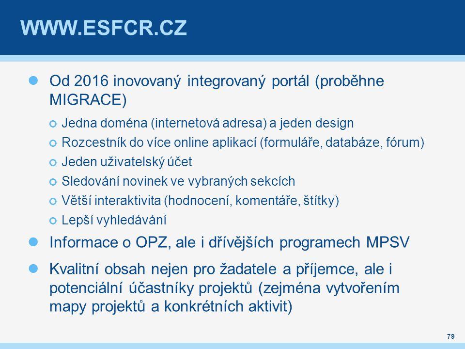 WWW.ESFCR.CZ Od 2016 inovovaný integrovaný portál (proběhne MIGRACE) Jedna doména (internetová adresa) a jeden design Rozcestník do více online aplikací (formuláře, databáze, fórum) Jeden uživatelský účet Sledování novinek ve vybraných sekcích Větší interaktivita (hodnocení, komentáře, štítky) Lepší vyhledávání Informace o OPZ, ale i dřívějších programech MPSV Kvalitní obsah nejen pro žadatele a příjemce, ale i potenciální účastníky projektů (zejména vytvořením mapy projektů a konkrétních aktivit) 79