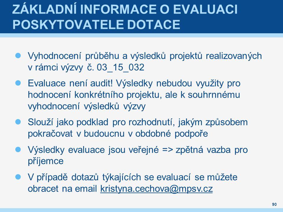ZÁKLADNÍ INFORMACE O EVALUACI POSKYTOVATELE DOTACE Vyhodnocení průběhu a výsledků projektů realizovaných v rámci výzvy č.