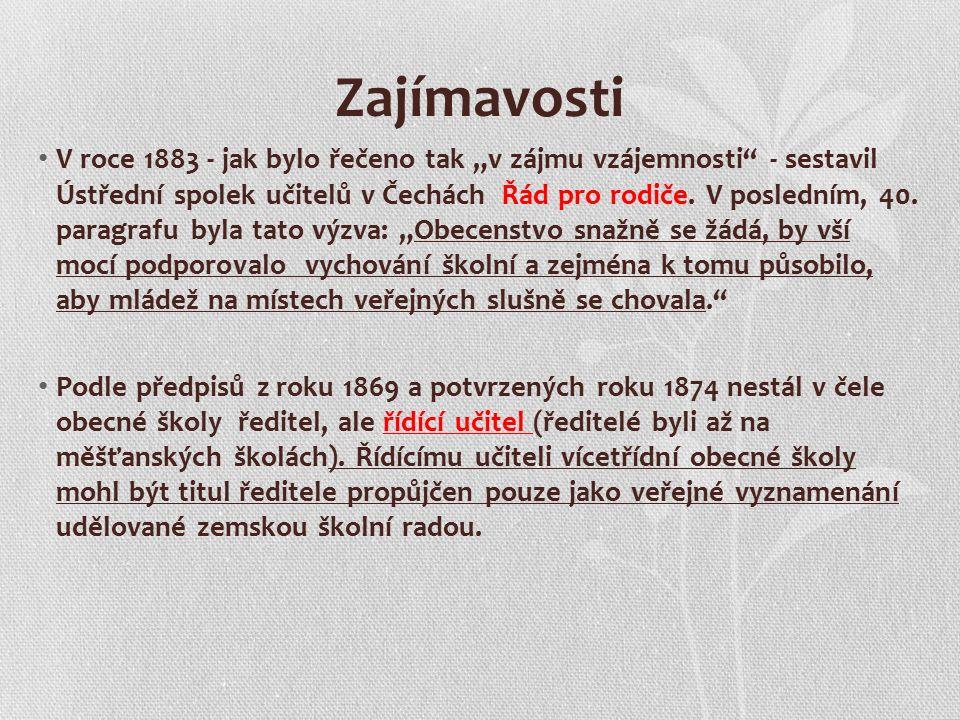 """Zajímavosti V roce 1883 - jak bylo řečeno tak """"v zájmu vzájemnosti - sestavil Ústřední spolek učitelů v Čechách Řád pro rodiče."""