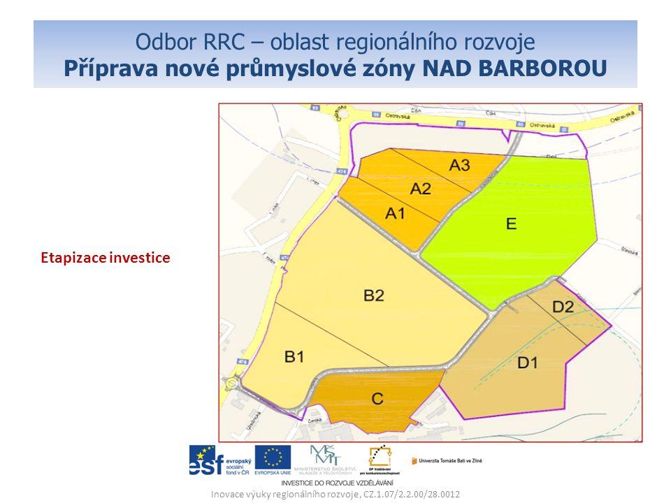 Odbor RRC – oblast regionálního rozvoje Příprava nové průmyslové zóny NAD BARBOROU Etapizace investice Inovace výuky regionálního rozvoje, CZ.1.07/2.2