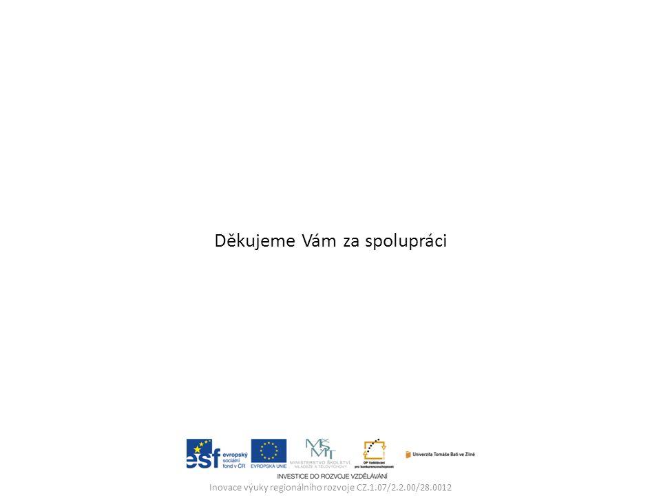 Děkujeme Vám za spolupráci Inovace výuky regionálního rozvoje CZ.1.07/2.2.00/28.0012