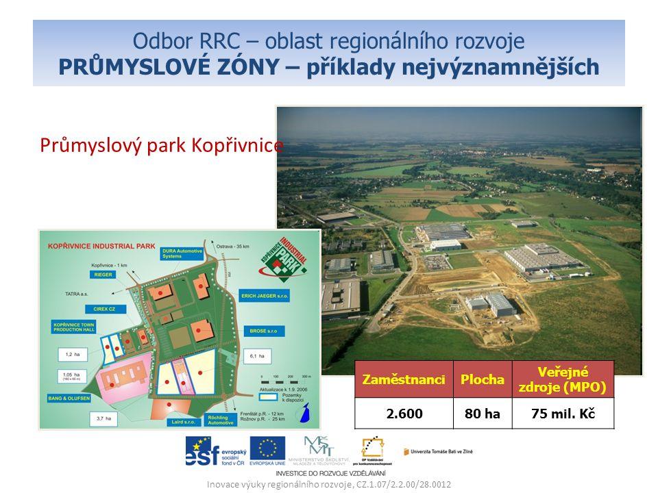 Odbor RRC – oblast regionálního rozvoje PRŮMYSLOVÉ ZÓNY – příklady nejvýznamnějších Průmyslový park Kopřivnice Inovace výuky regionálního rozvoje, CZ.1.07/2.2.00/28.0012 ZaměstnanciPlocha Veřejné zdroje (MPO) 2.60080 ha75 mil.