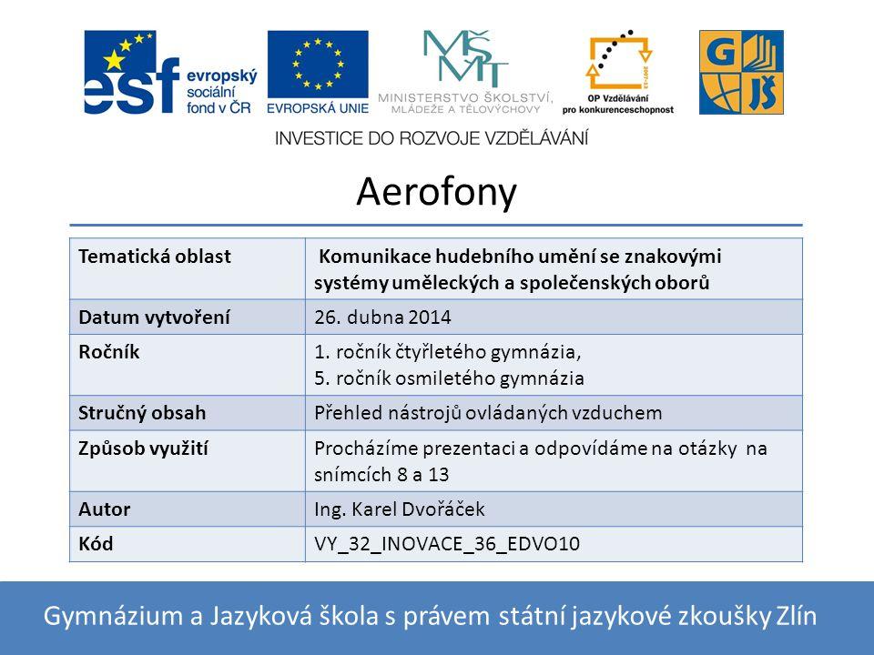 Aerofony V aerofonech (aer je řecky vzduch) vzniká zvuk chvěním vzduchu.