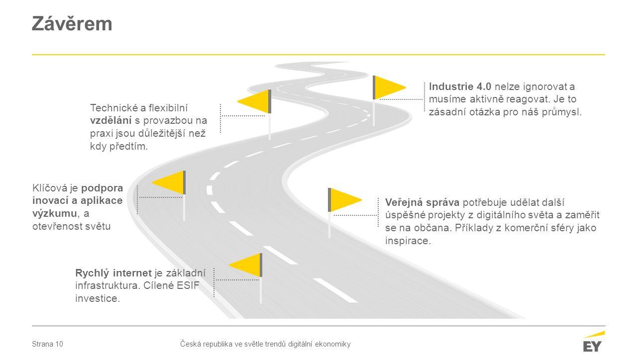 Strana 10 Závěrem Česká republika ve světle trendů digitální ekonomiky Industrie 4.0 nelze ignorovat a musíme aktivně reagovat. Je to zásadní otázka p
