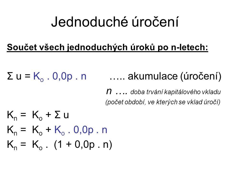 Jednoduché úročení Součet všech jednoduchých úroků po n-letech: Σ u = K o.
