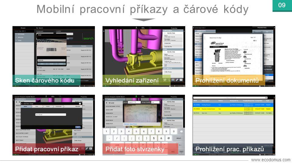 www.ecodomus.com 09 Sken čárového kóduVyhledání zařízeníProhlížení dokumentů Přidat pracovní příkazPřidat foto stvrzenkyProhlížení prac.