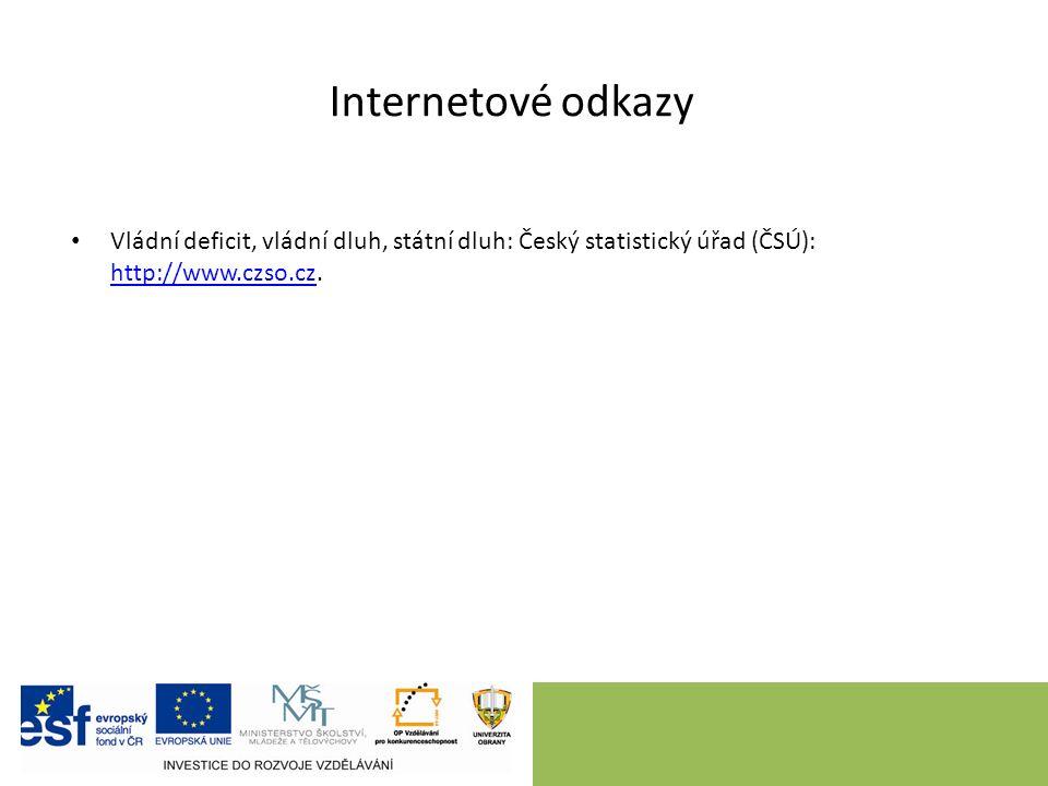 Internetové odkazy Vládní deficit, vládní dluh, státní dluh: Český statistický úřad (ČSÚ): http://www.czso.cz.