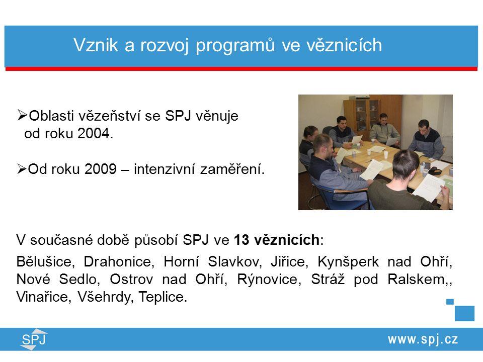 Vznik a rozvoj programů ve věznicích  Oblasti vězeňství se SPJ věnuje od roku 2004.