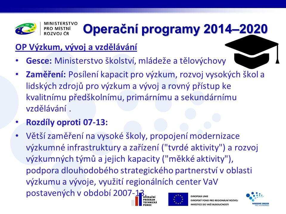 Operační programy 2014–2020 OP Výzkum, vývoj a vzdělávání Gesce: Ministerstvo školství, mládeže a tělovýchovy Zaměření: Posílení kapacit pro výzkum, rozvoj vysokých škol a lidských zdrojů pro výzkum a vývoj a rovný přístup ke kvalitnímu předškolnímu, primárnímu a sekundárnímu vzdělávání.