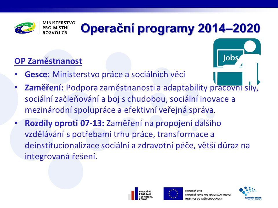 Operační programy 2014–2020 OP Zaměstnanost Gesce: Ministerstvo práce a sociálních věcí Zaměření: Podpora zaměstnanosti a adaptability pracovní síly, sociální začleňování a boj s chudobou, sociální inovace a mezinárodní spolupráce a efektivní veřejná správa.