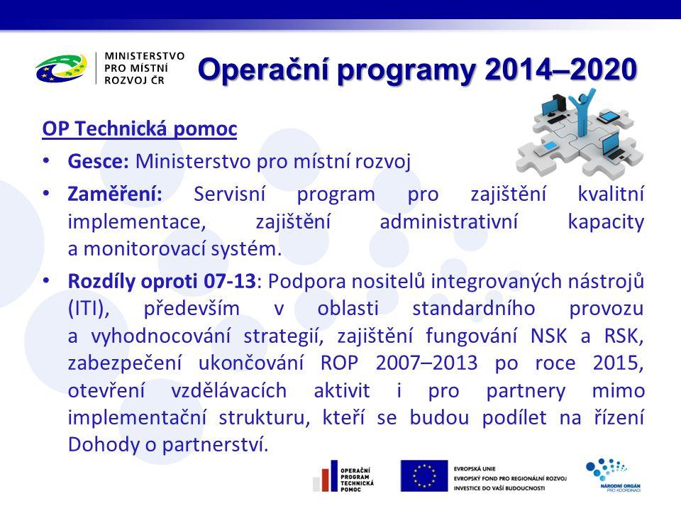 OP Technická pomoc Gesce: Ministerstvo pro místní rozvoj Zaměření: Servisní program pro zajištění kvalitní implementace, zajištění administrativní kapacity a monitorovací systém.