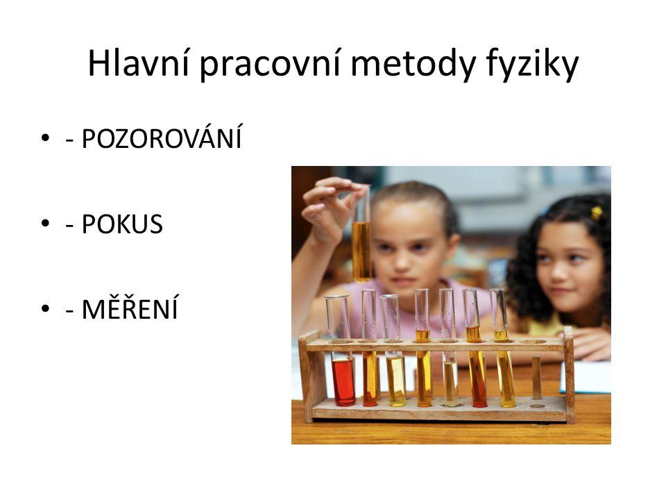 Hlavní pracovní metody fyziky - POZOROVÁNÍ - POKUS - MĚŘENÍ