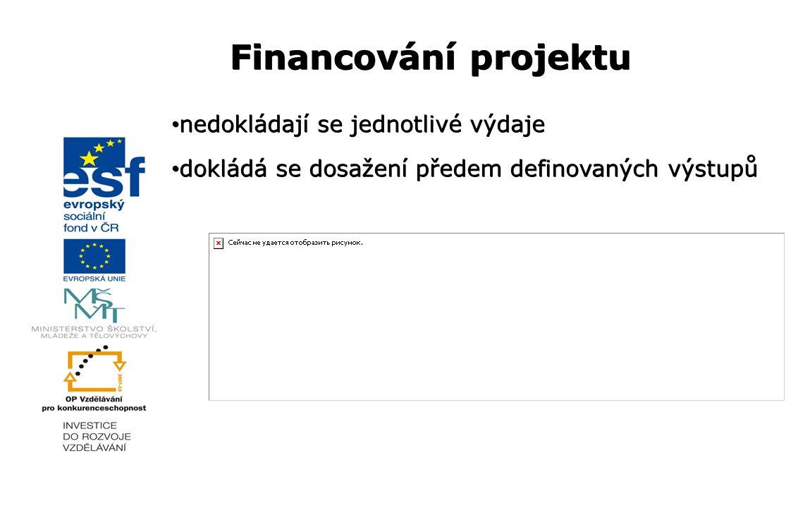 Financování projektu nedokládají se jednotlivé výdaje nedokládají se jednotlivé výdaje dokládá se dosažení předem definovaných výstupů dokládá se dosa