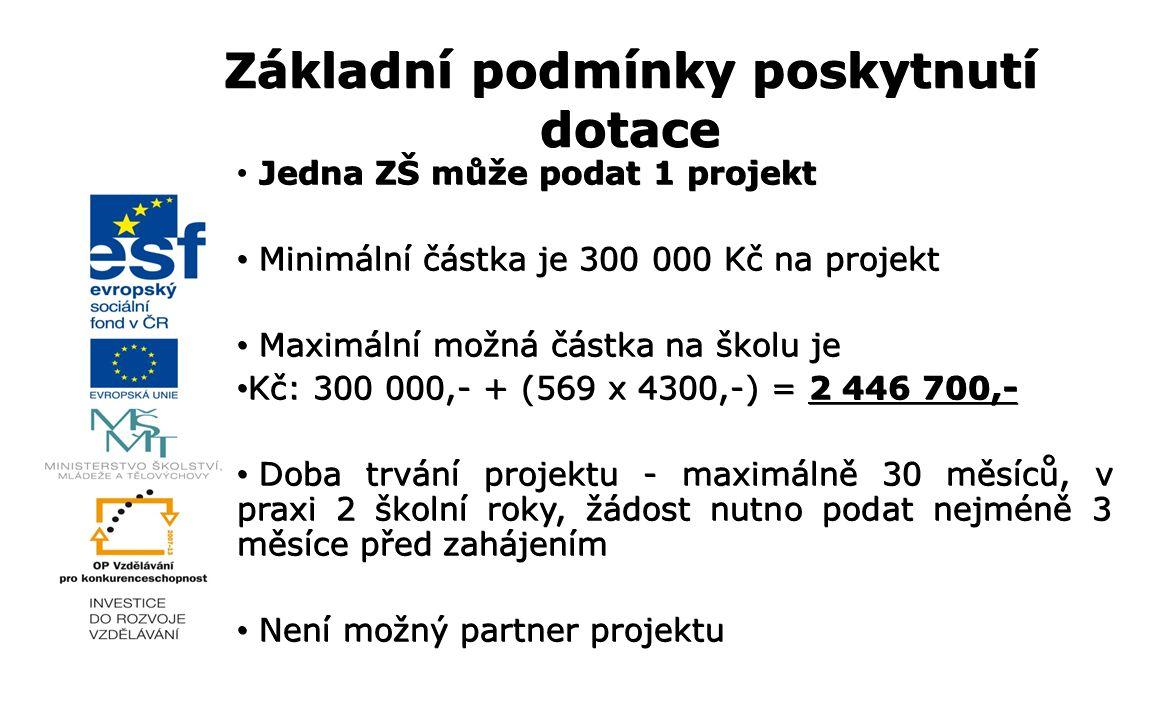 Jedna ZŠ může podat 1 projekt Minimální částka je 300 000 Kč na projekt Minimální částka je 300 000 Kč na projekt Maximální možná částka na školu je Maximální možná částka na školu je Kč: 300 000,- + (569 x 4300,-) = 2 446 700,- Kč: 300 000,- + (569 x 4300,-) = 2 446 700,- Doba trvání projektu - maximálně 30 měsíců, v praxi 2 školní roky, žádost nutno podat nejméně 3 měsíce před zahájením Doba trvání projektu - maximálně 30 měsíců, v praxi 2 školní roky, žádost nutno podat nejméně 3 měsíce před zahájením Není možný partner projektu Není možný partner projektu Základní podmínky poskytnutí dotace