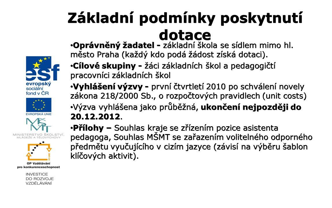 Oprávněný žadatel - základní škola se sídlem mimo hl. město Praha (každý kdo podá žádost získá dotaci). Oprávněný žadatel - základní škola se sídlem m