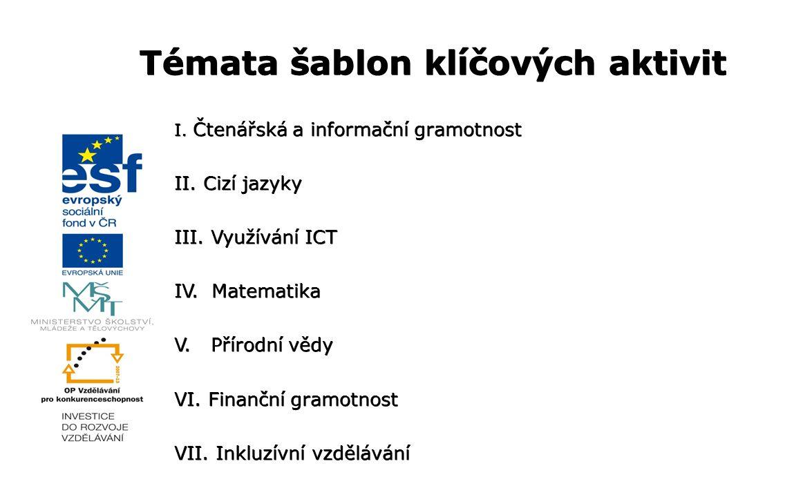 Témata šablon klíčových aktivit I. Čtenářská a informační gramotnost II. Cizí jazyky III. Využívání ICT IV. Matematika V. Přírodní vědy VI. Finanční g