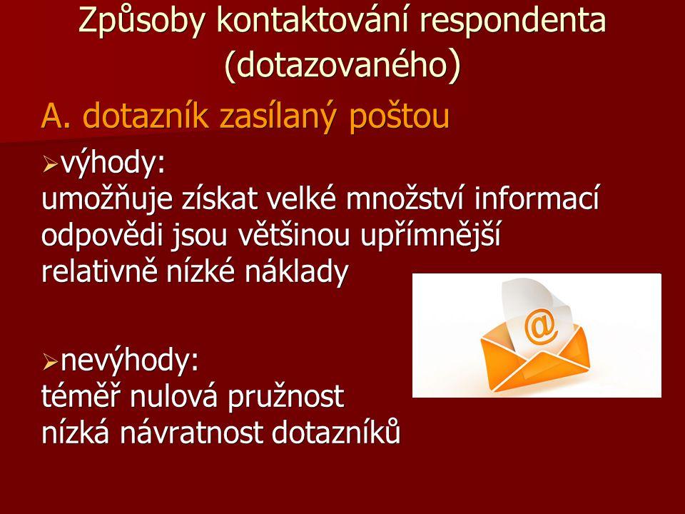 Způsoby kontaktování respondenta (dotazovaného ) A.