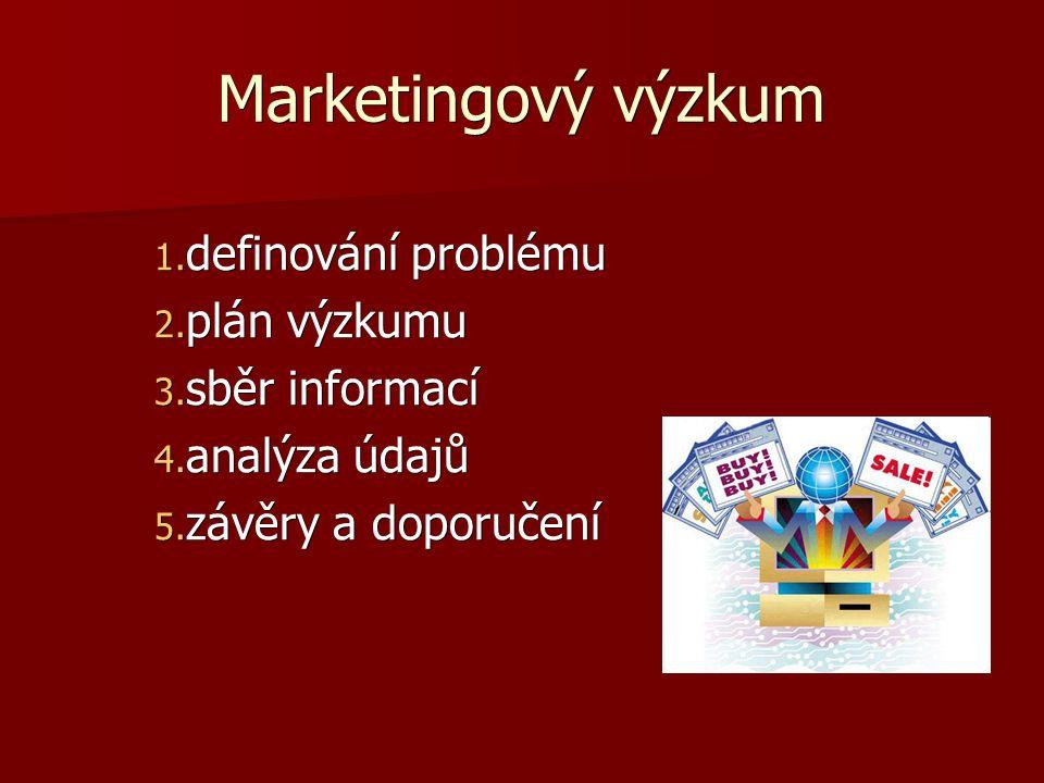Marketingový výzkum 1. definování problému 2. plán výzkumu 3.