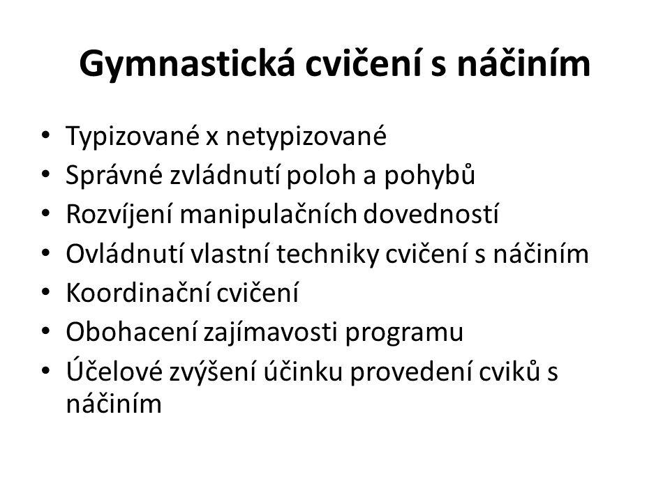 Gymnastická cvičení s náčiním Typizované x netypizované Správné zvládnutí poloh a pohybů Rozvíjení manipulačních dovedností Ovládnutí vlastní techniky cvičení s náčiním Koordinační cvičení Obohacení zajímavosti programu Účelové zvýšení účinku provedení cviků s náčiním