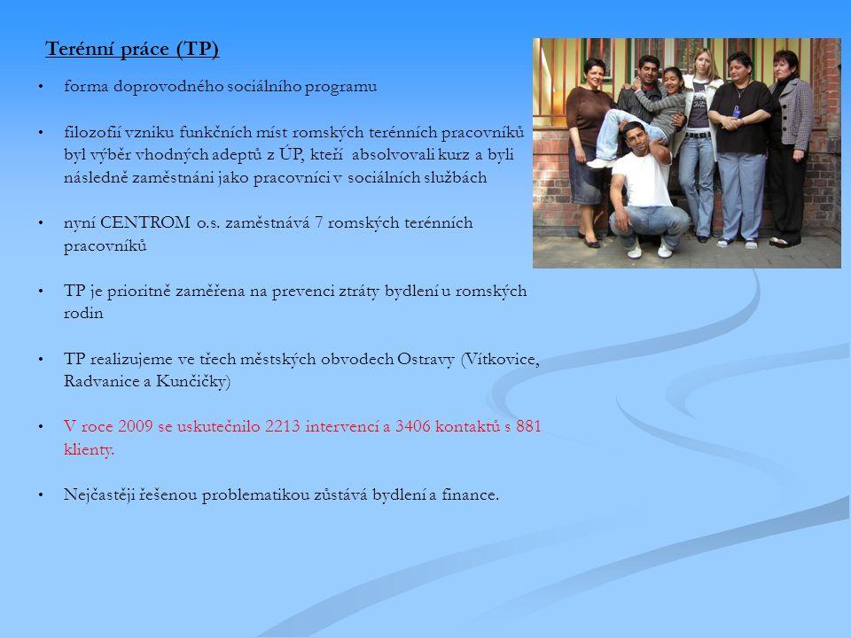 Terénní práce (TP) forma doprovodného sociálního programu filozofií vzniku funkčních míst romských terénních pracovníků byl výběr vhodných adeptů z ÚP, kteří absolvovali kurz a byli následně zaměstnáni jako pracovníci v sociálních službách nyní CENTROM o.s.