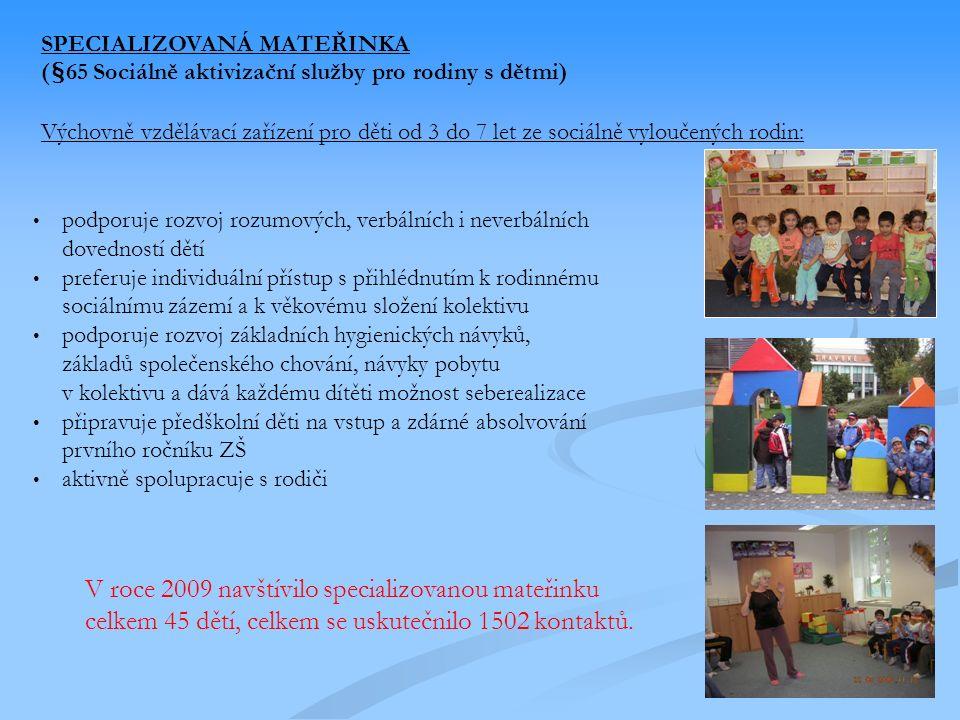 SPECIALIZOVANÁ MATEŘINKA (§65 Sociálně aktivizační služby pro rodiny s dětmi) Výchovně vzdělávací zařízení pro děti od 3 do 7 let ze sociálně vyloučených rodin: podporuje rozvoj rozumových, verbálních i neverbálních dovedností dětí preferuje individuální přístup s přihlédnutím k rodinnému sociálnímu zázemí a k věkovému složení kolektivu podporuje rozvoj základních hygienických návyků, základů společenského chování, návyky pobytu v kolektivu a dává každému dítěti možnost seberealizace připravuje předškolní děti na vstup a zdárné absolvování prvního ročníku ZŠ aktivně spolupracuje s rodiči V roce 2009 navštívilo specializovanou mateřinku celkem 45 dětí, celkem se uskutečnilo 1502 kontaktů.